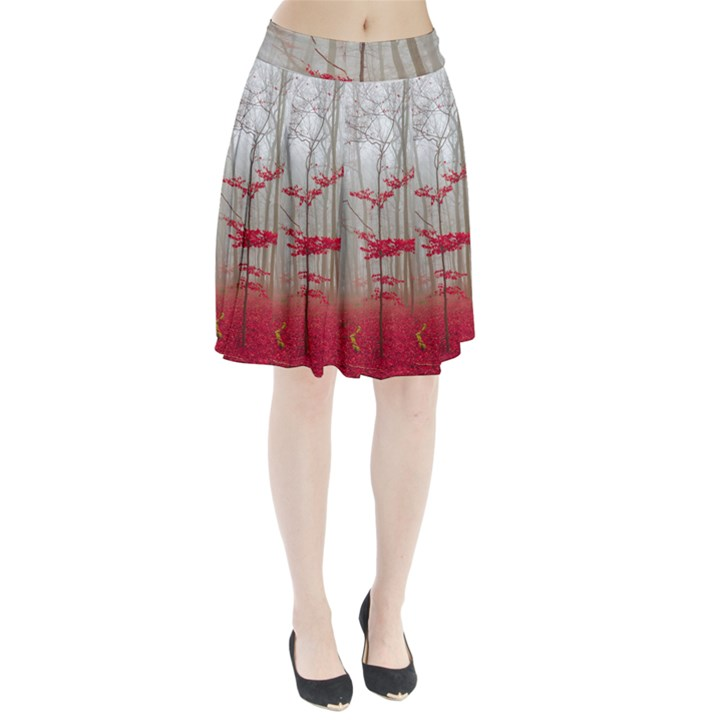 Magic Forest In Red And White Pleated Skirt