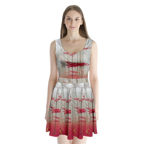Magic Forest In Red And White Split Back Mini Dress