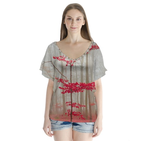 Magic Forest In Red And White Flutter Sleeve Top