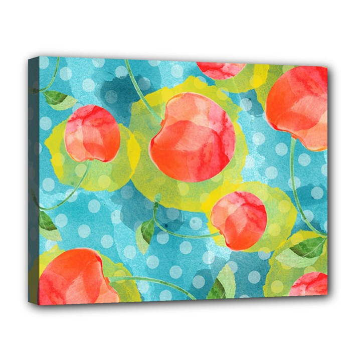 Red Cherries Canvas 14  x 11