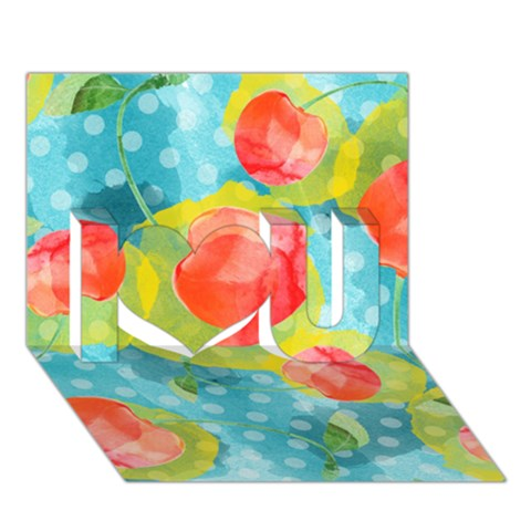 Red Cherries I Love You 3D Greeting Card (7x5)