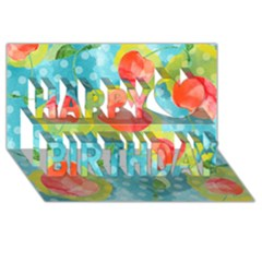 Red Cherries Happy Birthday 3D Greeting Card (8x4)
