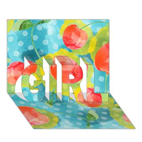 Red Cherries GIRL 3D Greeting Card (7x5)