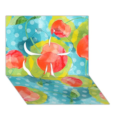 Red Cherries Clover 3D Greeting Card (7x5)
