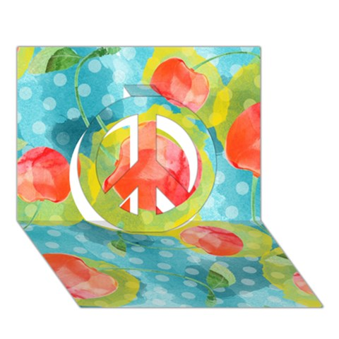 Red Cherries Peace Sign 3D Greeting Card (7x5)