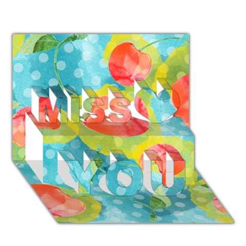 Red Cherries Miss You 3D Greeting Card (7x5)