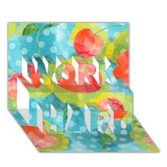 Red Cherries WORK HARD 3D Greeting Card (7x5)