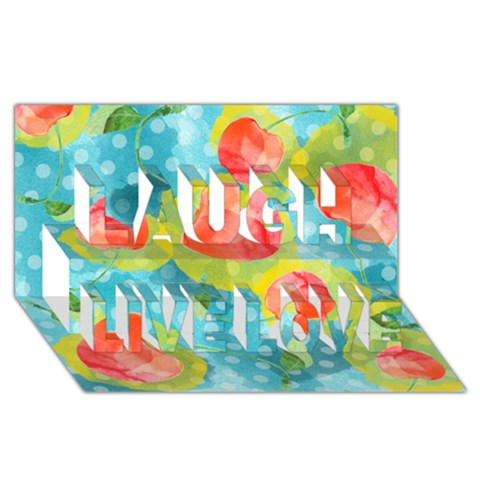 Red Cherries Laugh Live Love 3D Greeting Card (8x4)
