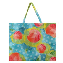 Red Cherries Zipper Large Tote Bag