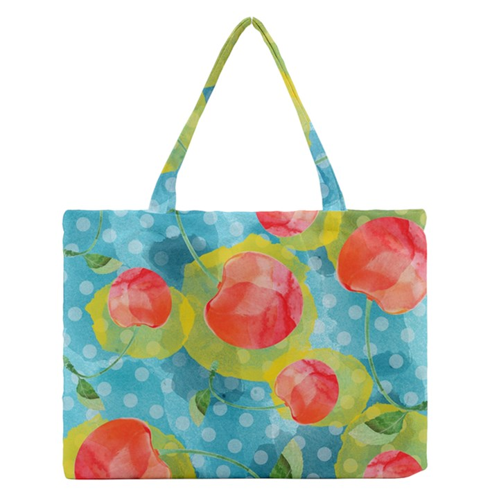 Red Cherries Medium Zipper Tote Bag