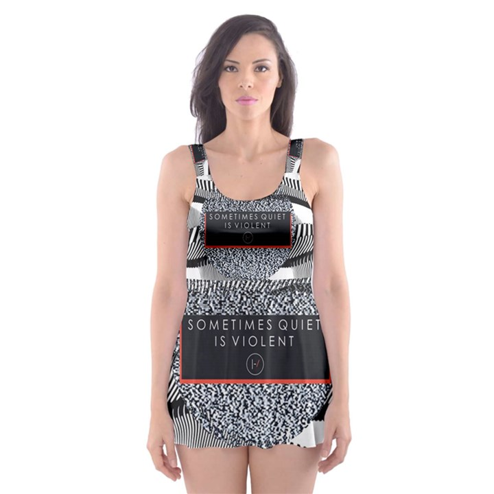 Sometimes Quiet Is Violent Twenty One Pilots The Meaning Of Blurryface Album Skater Dress Swimsuit