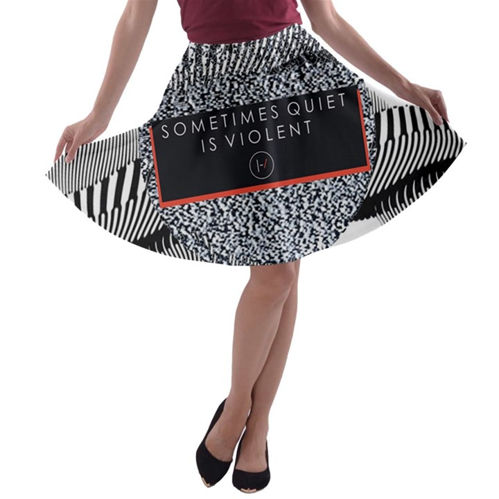 Sometimes Quiet Is Violent Twenty One Pilots The Meaning Of Blurryface Album A-line Skater Skirt