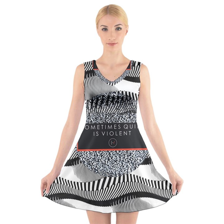 Sometimes Quiet Is Violent Twenty One Pilots The Meaning Of Blurryface Album V-Neck Sleeveless Skater Dress
