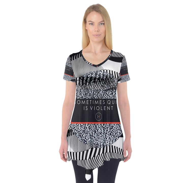 Sometimes Quiet Is Violent Twenty One Pilots The Meaning Of Blurryface Album Short Sleeve Tunic