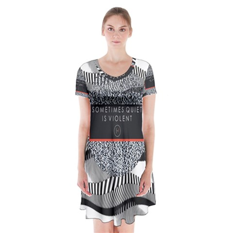 Sometimes Quiet Is Violent Twenty One Pilots The Meaning Of Blurryface Album Short Sleeve V-neck Flare Dress
