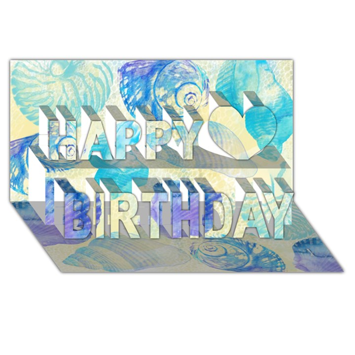Seashells Happy Birthday 3D Greeting Card (8x4)
