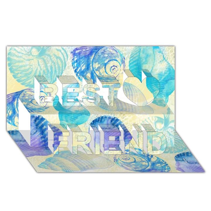 Seashells Best Friends 3D Greeting Card (8x4)