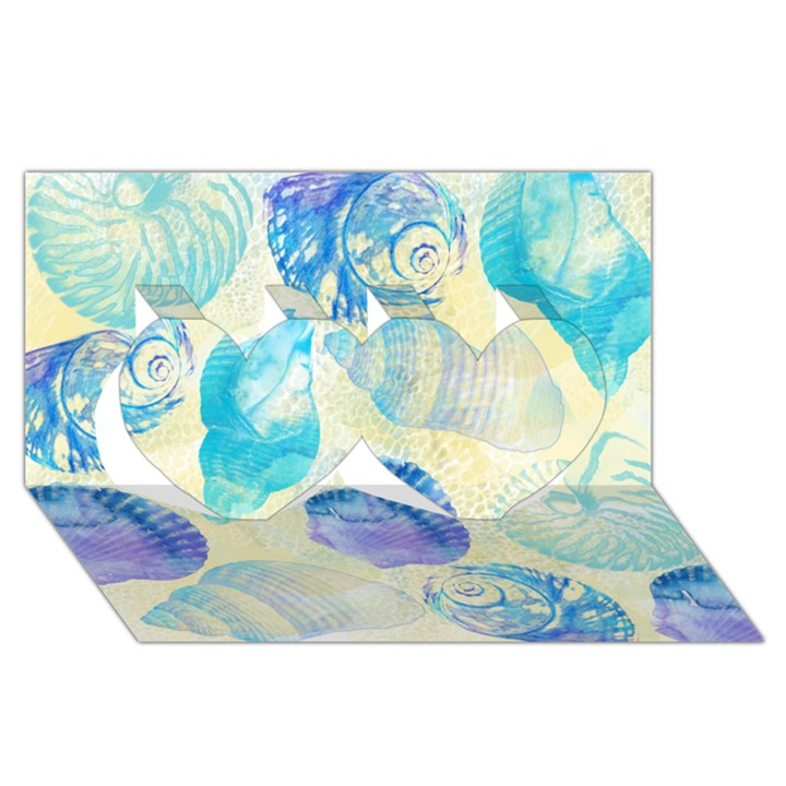 Seashells Twin Hearts 3D Greeting Card (8x4)