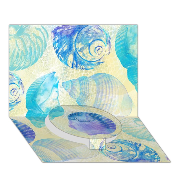 Seashells Circle Bottom 3D Greeting Card (7x5)