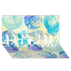 Seashells BEST SIS 3D Greeting Card (8x4)