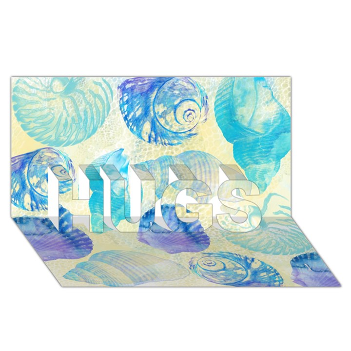 Seashells HUGS 3D Greeting Card (8x4)