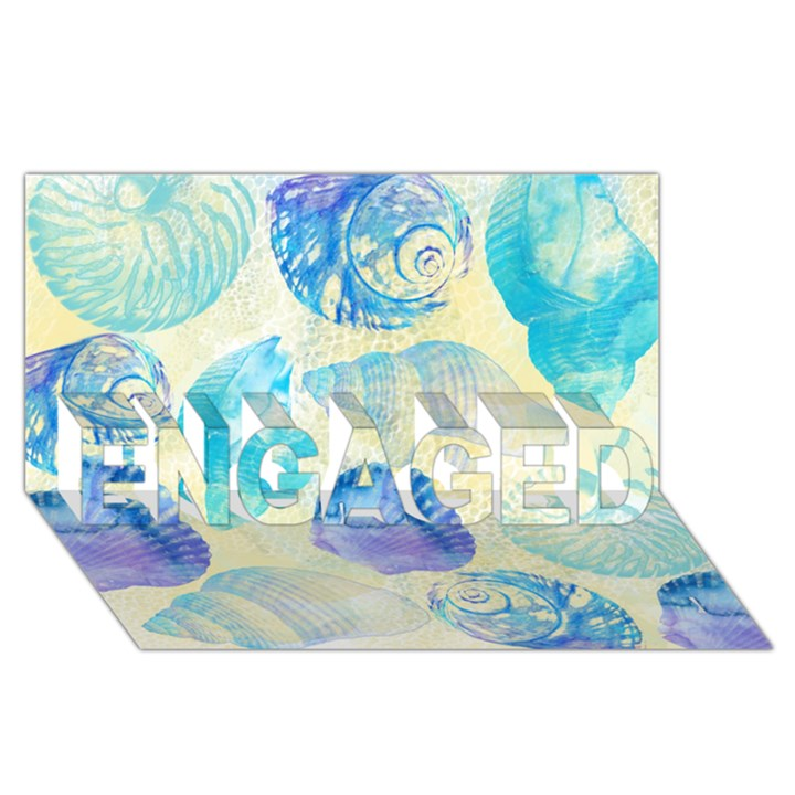 Seashells ENGAGED 3D Greeting Card (8x4)