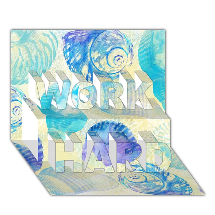 Seashells WORK HARD 3D Greeting Card (7x5)