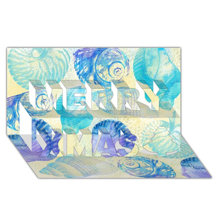 Seashells Merry Xmas 3D Greeting Card (8x4)