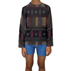 Tardis Doctor Who Ugly Holiday Kids  Long Sleeve Swimwear