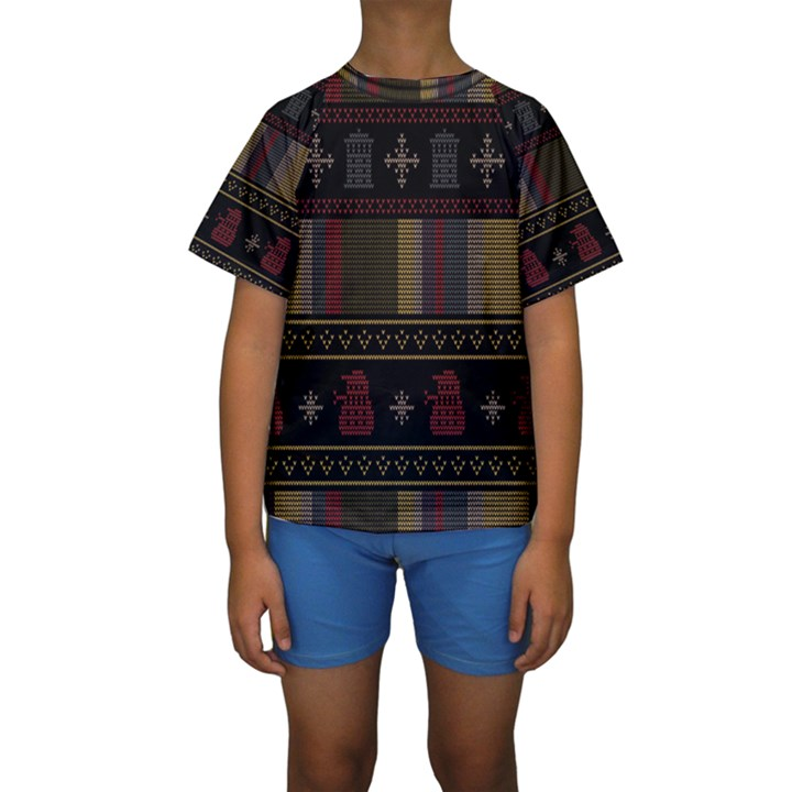 Tardis Doctor Who Ugly Holiday Kids  Short Sleeve Swimwear