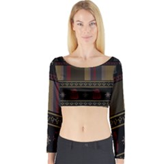 Tardis Doctor Who Ugly Holiday Long Sleeve Crop Top