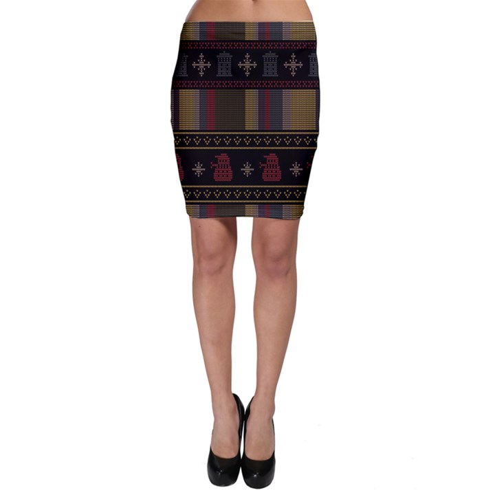 Tardis Doctor Who Ugly Holiday Bodycon Skirt