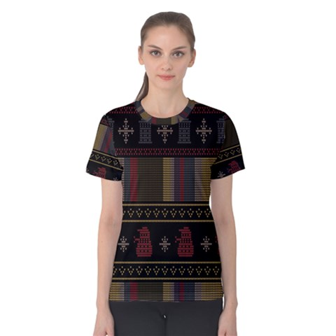 Tardis Doctor Who Ugly Holiday Women s Cotton Tee