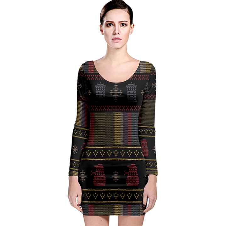 Tardis Doctor Who Ugly Holiday Long Sleeve Bodycon Dress
