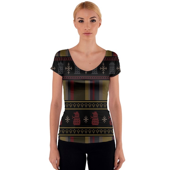 Tardis Doctor Who Ugly Holiday Women s V-Neck Cap Sleeve Top