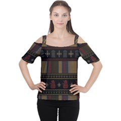 Tardis Doctor Who Ugly Holiday Women s Cutout Shoulder Tee