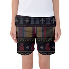 Tardis Doctor Who Ugly Holiday Women s Basketball Shorts