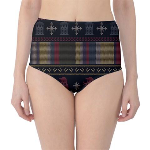 Tardis Doctor Who Ugly Holiday High-Waist Bikini Bottoms
