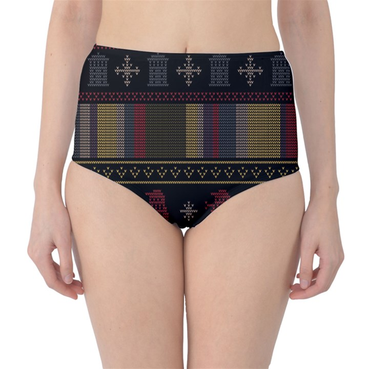Tardis Doctor Who Ugly Holiday High-Waist Bikini Bottoms