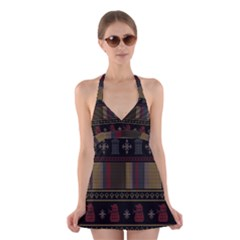 Tardis Doctor Who Ugly Holiday Halter Swimsuit Dress