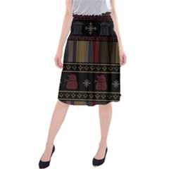Tardis Doctor Who Ugly Holiday Midi Beach Skirt