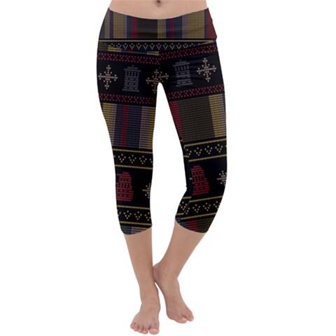 Tardis Doctor Who Ugly Holiday Capri Yoga Leggings