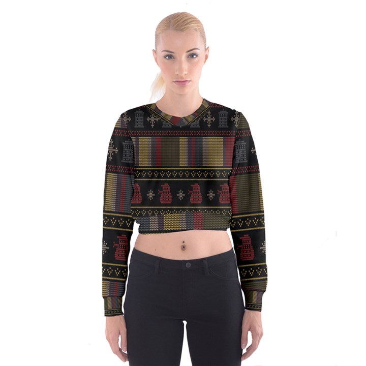Tardis Doctor Who Ugly Holiday Women s Cropped Sweatshirt