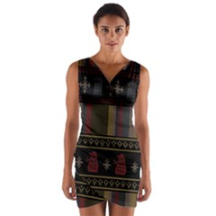 Tardis Doctor Who Ugly Holiday Wrap Front Bodycon Dress