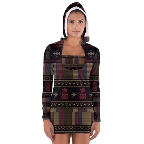 Tardis Doctor Who Ugly Holiday Women s Long Sleeve Hooded T-shirt