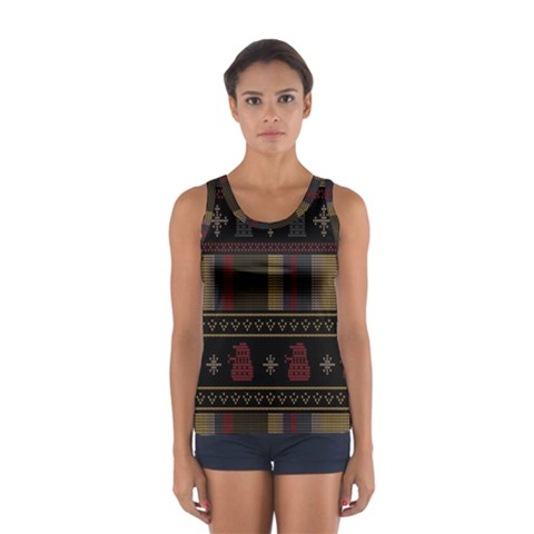 Tardis Doctor Who Ugly Holiday Women s Sport Tank Top