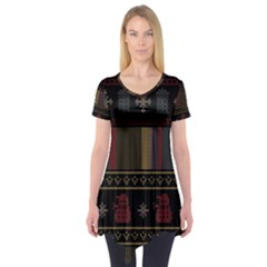Tardis Doctor Who Ugly Holiday Short Sleeve Tunic