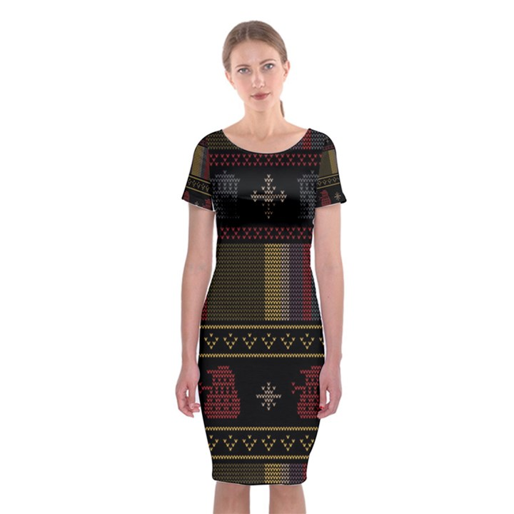 Tardis Doctor Who Ugly Holiday Classic Short Sleeve Midi Dress