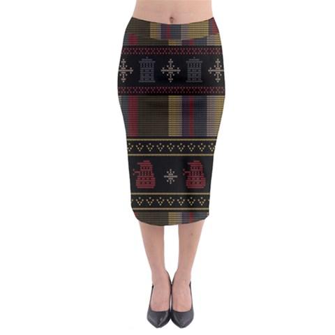 Tardis Doctor Who Ugly Holiday Midi Pencil Skirt