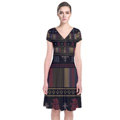 Tardis Doctor Who Ugly Holiday Short Sleeve Front Wrap Dress